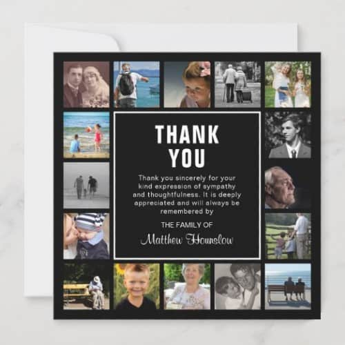 Modern Photo Collage Funeral Thank You Card