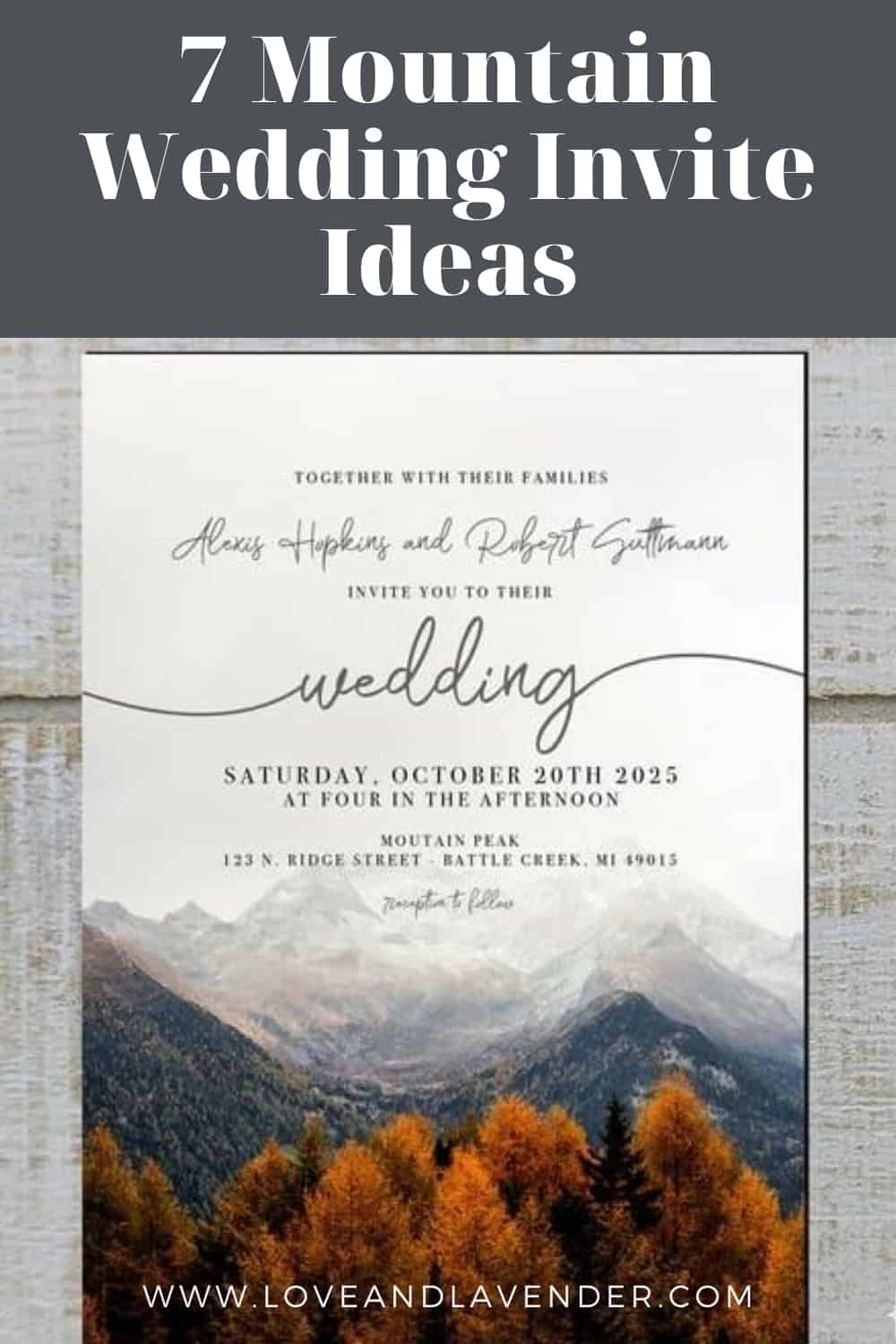 Pinterest Pin - Mountain Wedding invite Ideas
