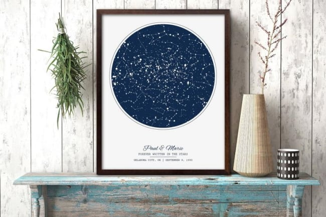personalized night sky map