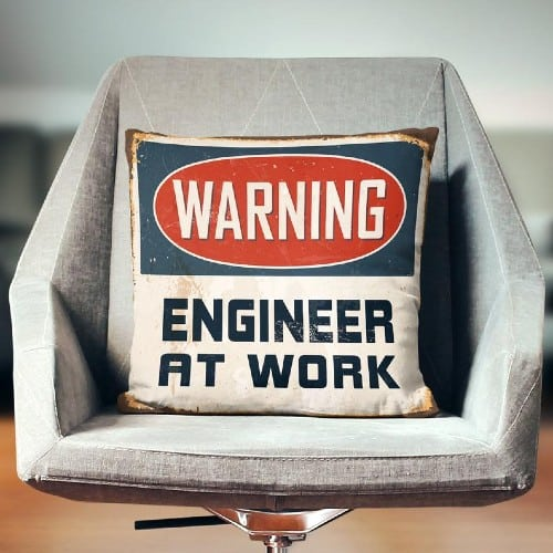 Warning: Engineer at Work Pillow Cover