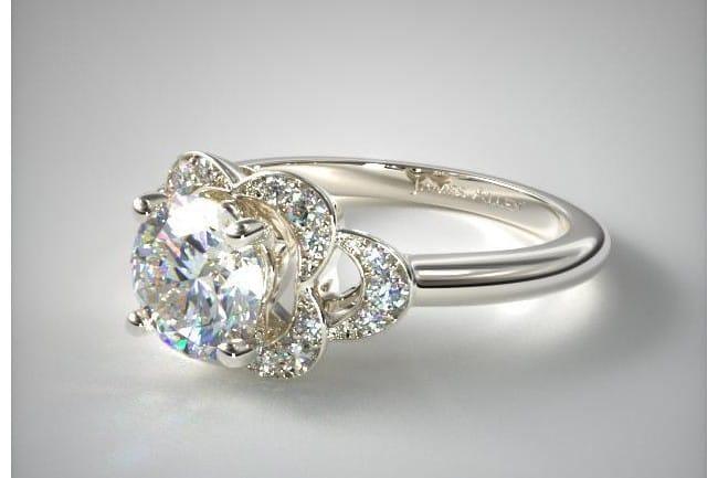 Platinum Art Deco Flower Halo Engagement Ring