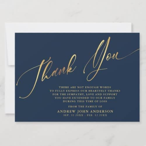 Navy & Gold Calligraphy Funeral Thank You Card