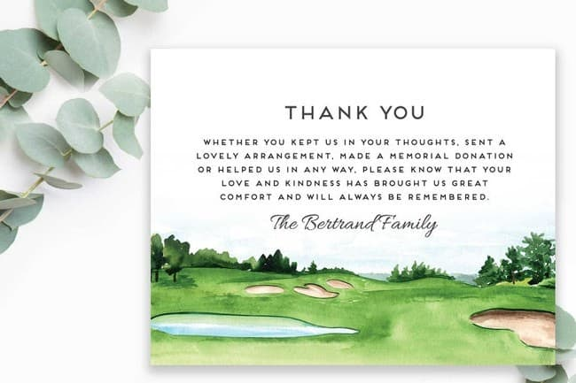 Golf-Themed Bereavement Note