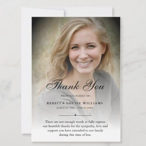 Personal Photo Funeral Thank You Card