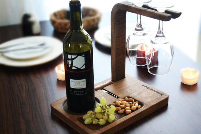 wine stand with wine