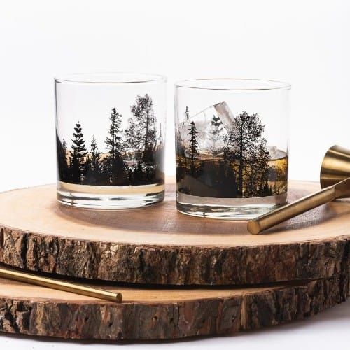 Forest Landscape Whiskey Glasses