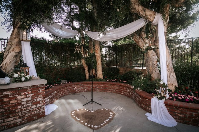 fabric draped backyard beach wedding