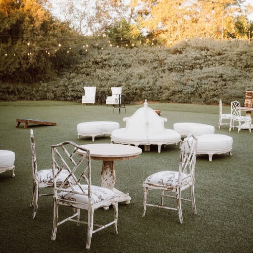 backyward wedding lounge area