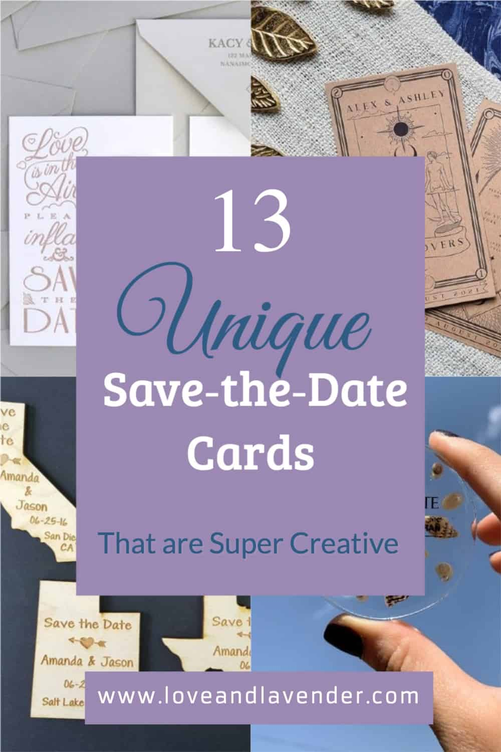 pinterest pin - unique save the date cards