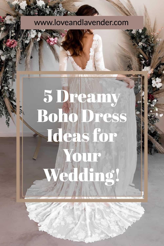 pinterest pin - boho wedding dresses