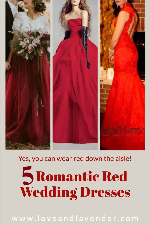 pinterest pin - red wedding dresses