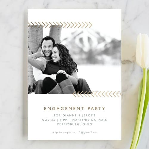 Arrows and Photo Engagement party invitation