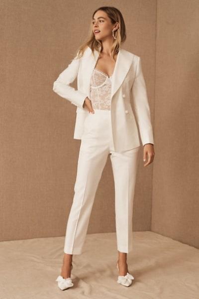 white pantsuit