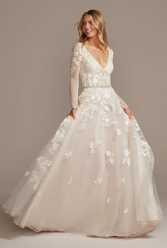 long sleeve v-neck lace wedding gown