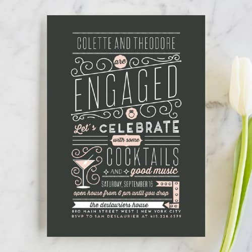 Cocktails and Music Engagement party invitation