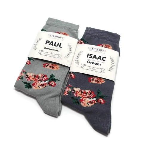 floral groomsmen socks