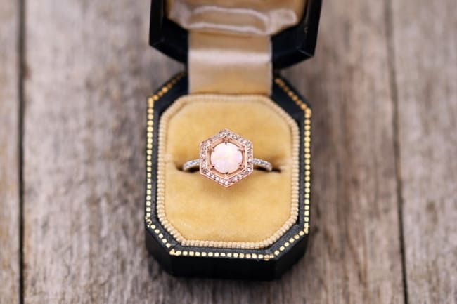 Hexagon Halo Opal Engagement Ring