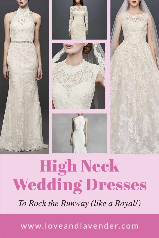 pinterest pin - high neck wedding dresses
