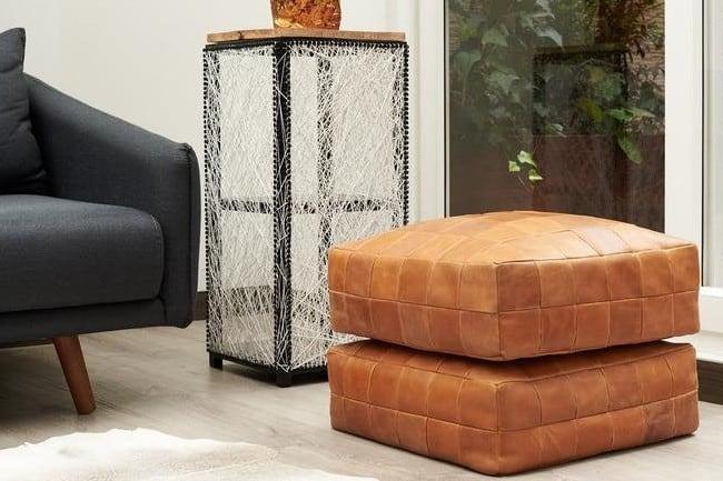 Leather Square Ottoman Cover