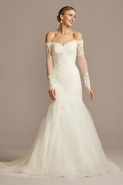 Long Sleeve Off-the-Shoulder Trumpet Wedding Dress