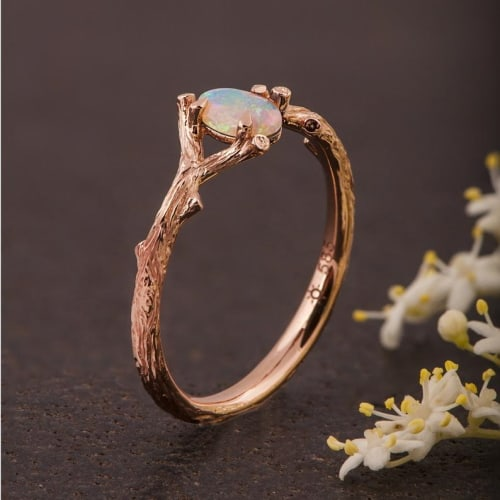 opal twig band engagement ring