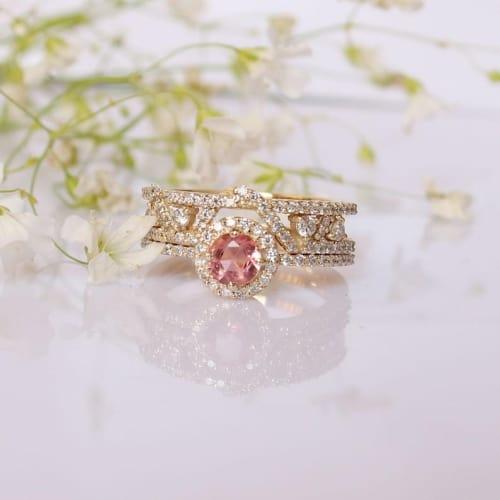 peach tourmaline engagement ring