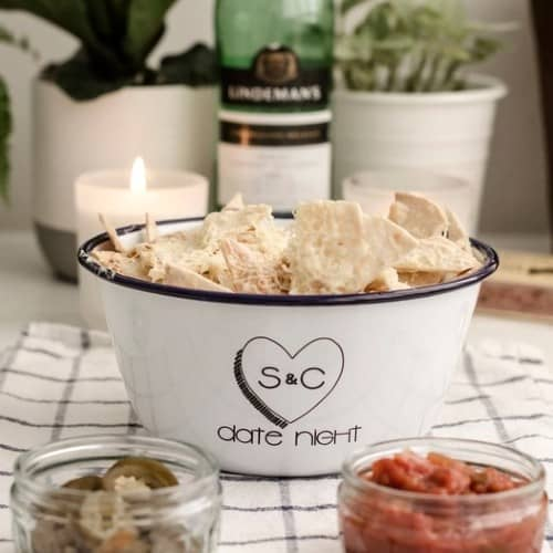 Personalized Enamel Date Night Bowl