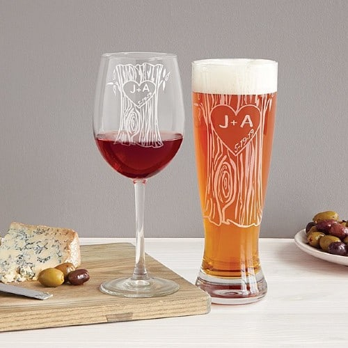 Etched Wine & Beer Glasses