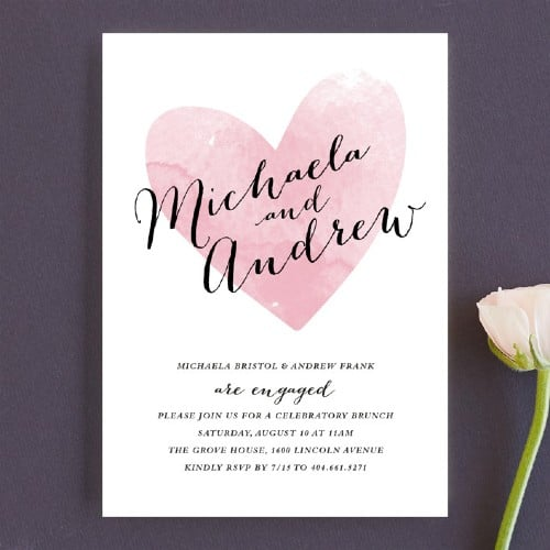 Watercolor Heart Engagement party invitation