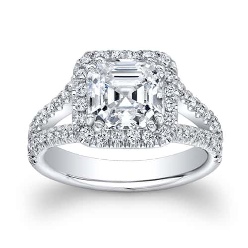 Asscher Cut White Sapphire Ring with Diamond Split Band