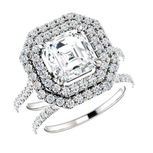 Asscher Cut Diamond and Double Halo Ring