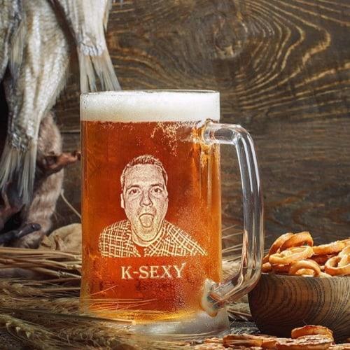 engraved best man beer mug