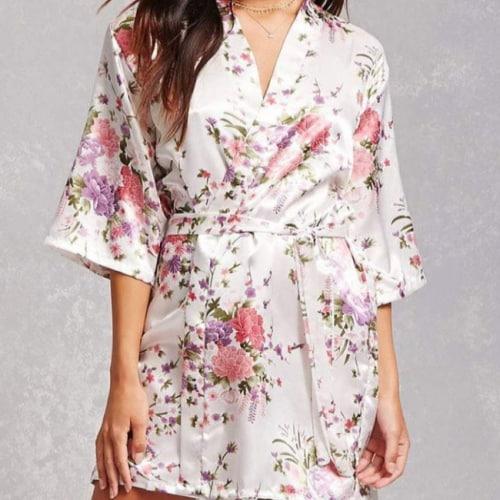 light floral silk robe