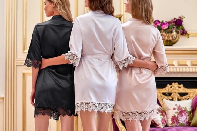 lace trim bridal robes
