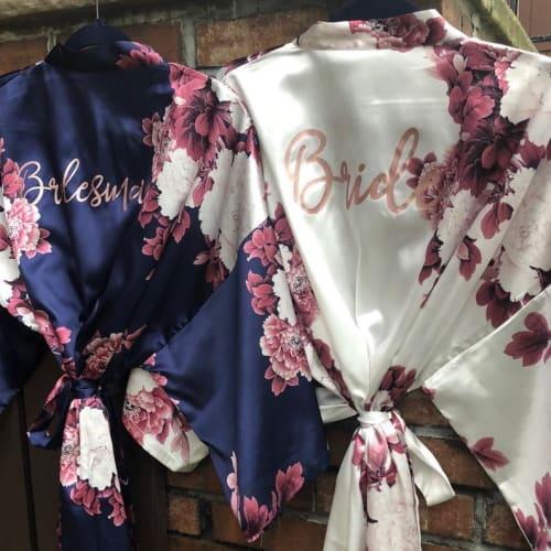 navy blue floral bridesmaid robe