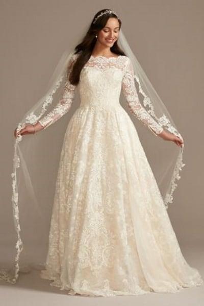 Long Sleeve Beaded Lace Wedding Dress