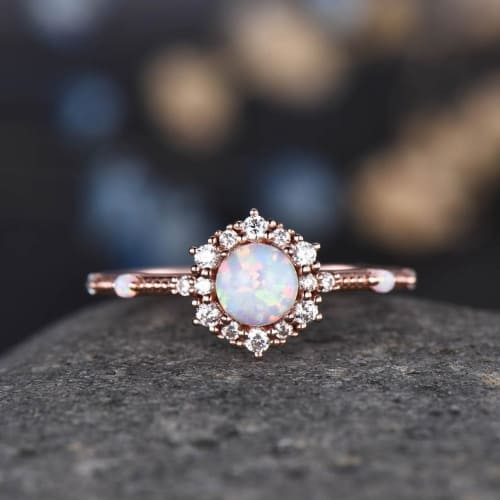 Floral-Shaped Opal Engagement Ring