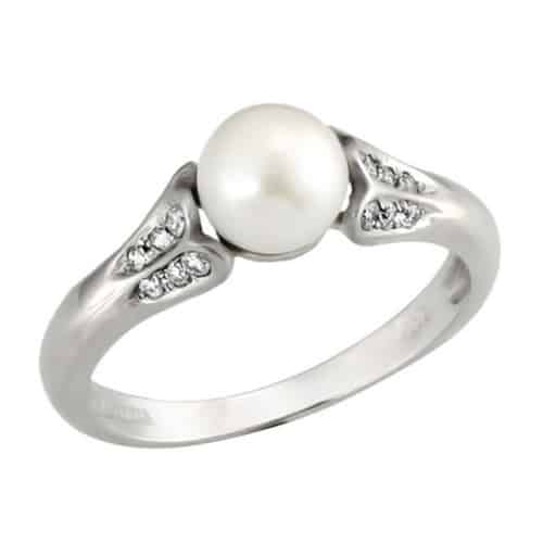 Freshwater Pearl & Diamond Engagement Ring
