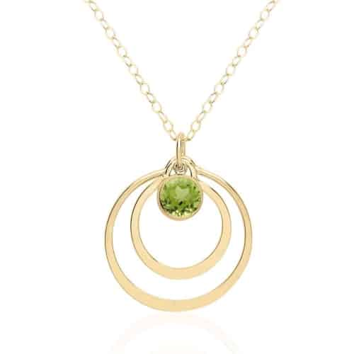 gold and peridot necklace