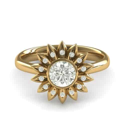 gold sunflower engagement ring