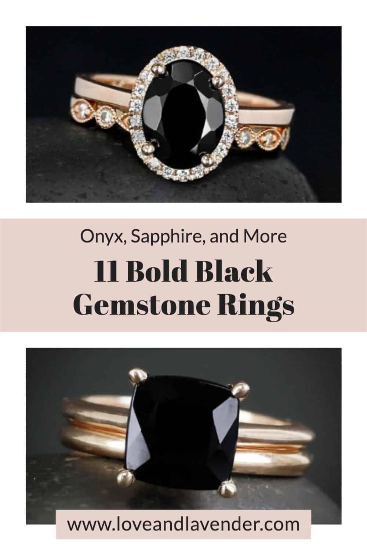 pinterest pin - black gemstone rings