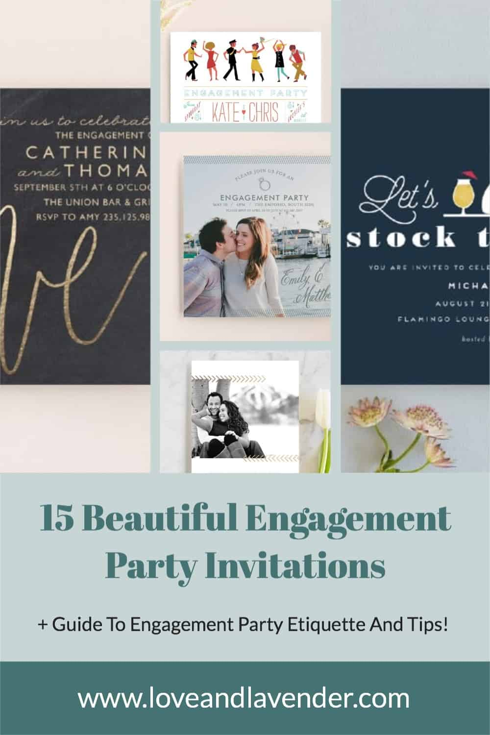 pinterest pin - engagement party invitations