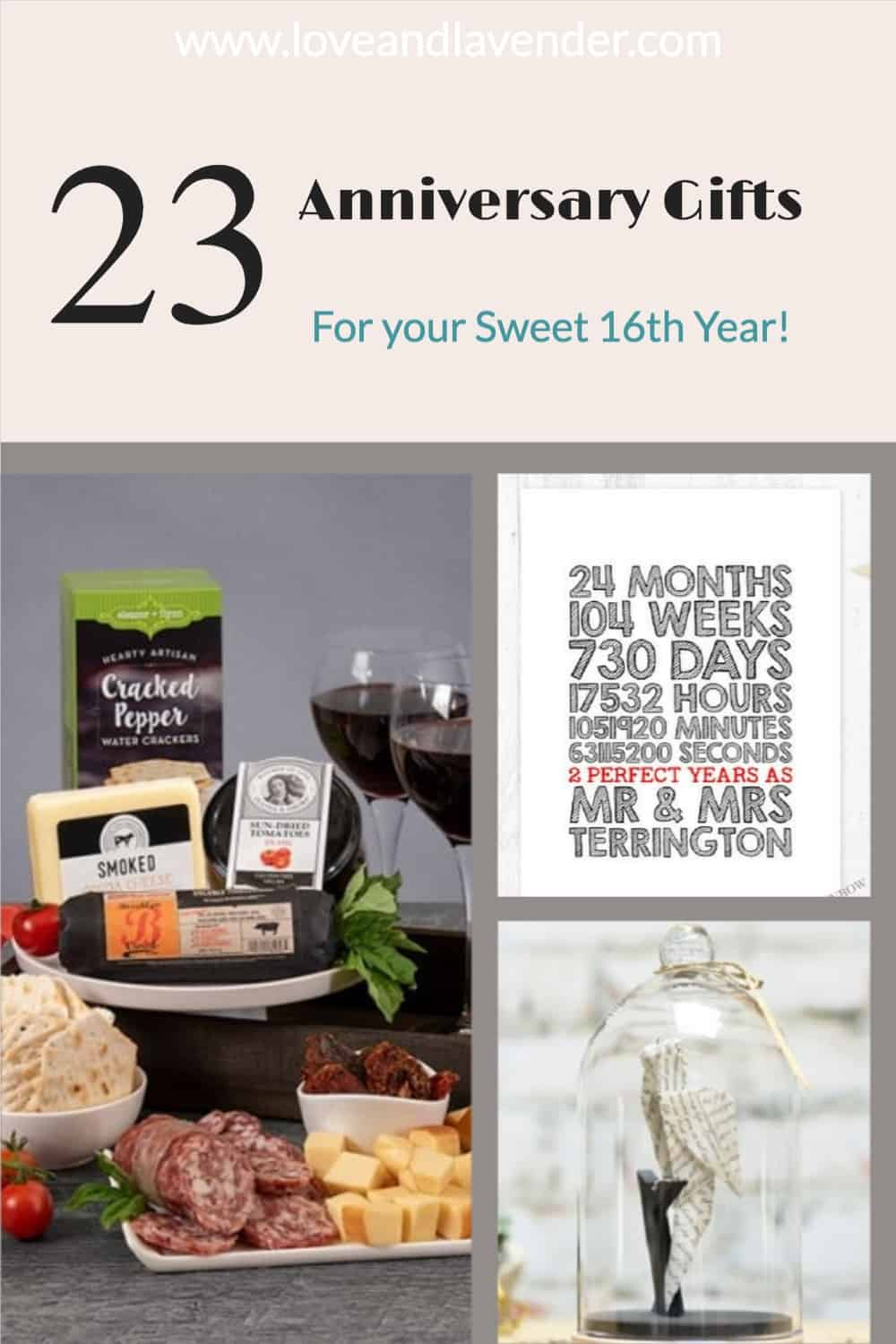 pinterest pin - 16th anniversary gifts