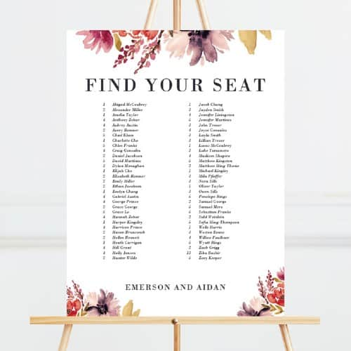 Floral Rustic Seating Chart