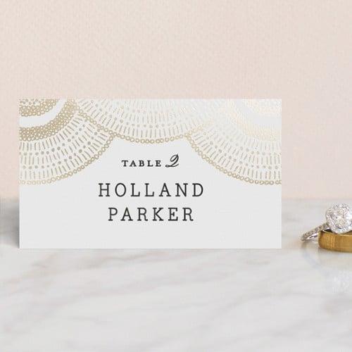 Deco Fringe Foil-Pressed wedding place card