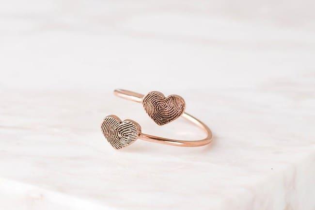 Double Hearts Fingerprint Ring