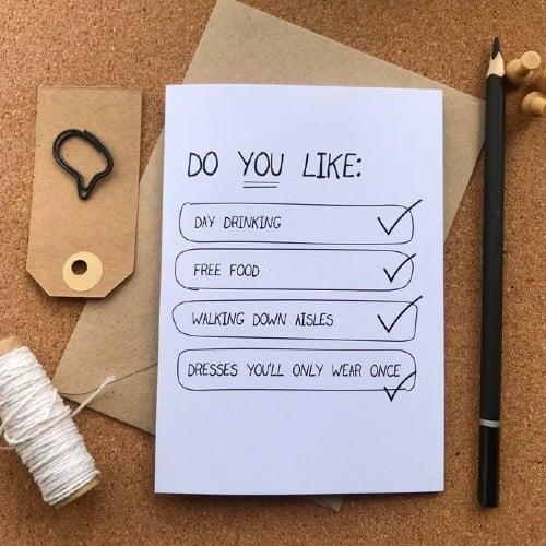 Cute Bridesmaid Proposal Checklist Card