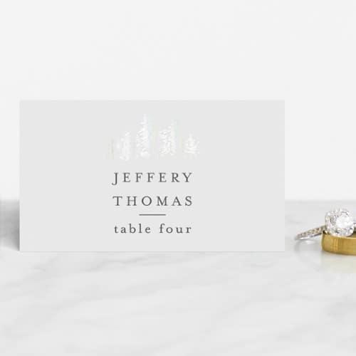 Golden Pines Gloss-Press wedding place card