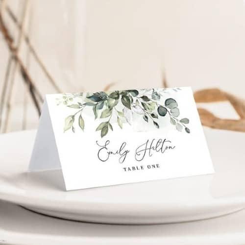 Boho Greenery wedding place card