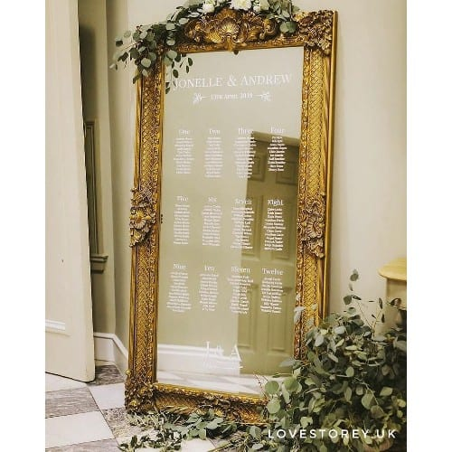 Mirror Seating Chart Decals